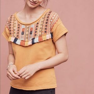 Anthropologie Valencia Top- with Fringe Tassels